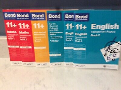 Bond 11+ Plus 9-10 Year Assessment Papers 4 books English Maths Non Verbal & Com
