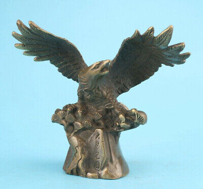Old Bronze Hand Carved Eagle Figurine Lucky Statue Spiritual Collection Gift