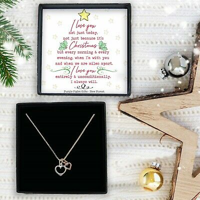 Christmas Gift Ladies Silver Rose Gold Heart Necklace Xmas Gift Box Jewellery