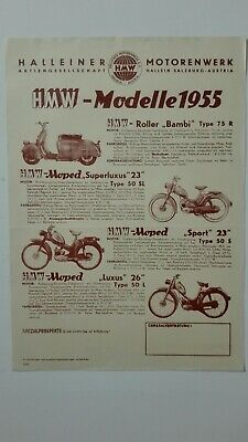 Prospectus Catalogue Brochure Cyclomoteurs HMW 1955