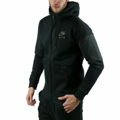 New Nike Air Mens Full Tracksuit Black/Grey Hooded Mens Sizes S To Xl