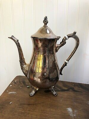 Coffee/Tea Pot Silver Metal Footed Vintage- Unmarked