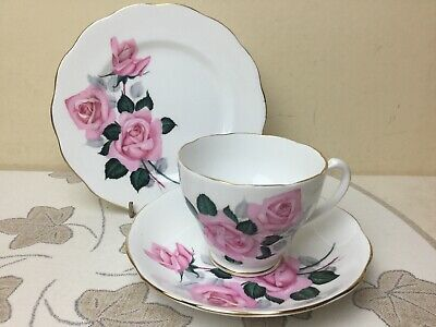 Roslyn Bone China Pink Roses Tea Trio Cup Saucer & Side Plate Superb Condition