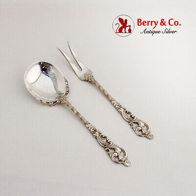 Dobbel Rokokko Sugar Spoon Cocktail Fork Set 830 Silver 1950 Norway