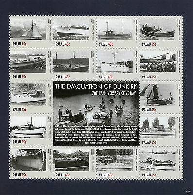 Palau 2015 MNH WWII WW2 VE Day Evacuation Dunkirk 16v M/S I Ships War Stamps