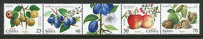 Serbia 2017 MNH Flora Fruits Pears Plums Apples 4v Strip Plants Flowers Stamps
