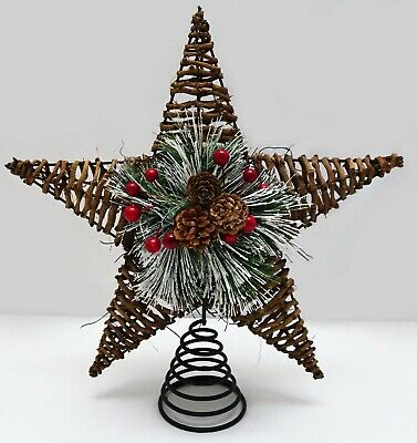 Bella Lux Rustic 13 inch Star Christmas Tree Topper Twig Holly Pine Cone Branch
