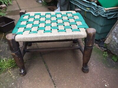 Antique / Vintage Wooden Framed Woven Foot Stool Rare Prop Display Rare