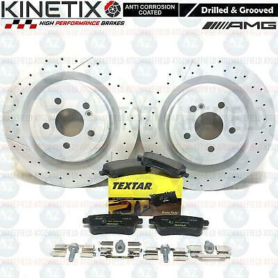 FOR MERCEDES A45 AMG REAR DRILLED GROOVED PREMIUM BRAKE DISCS TEXTAR PADS 330mm