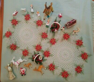 Lot of 19 Vintage Plastic CHRISTMAS DECOR ~ Reindeer, Doilies, Santas, Ornaments