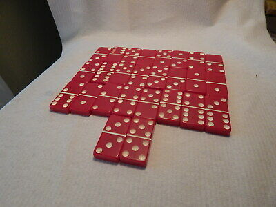Vtg 1930S 40S Red Bakelite Set Of 26 Dominoes Estate 3/8 Thick 1 X 2 Inches