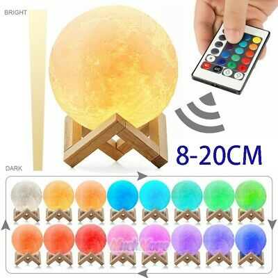 Dimmable 3D Moon Lamp Moonlight USB LED Night Lunar Light Touch 16Color Changing