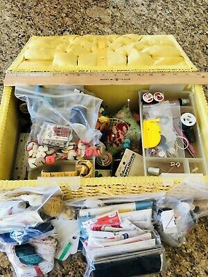Vintage Sewing Box (Japan) Loaded With Supplies Needles, Thread, Buttons, & More