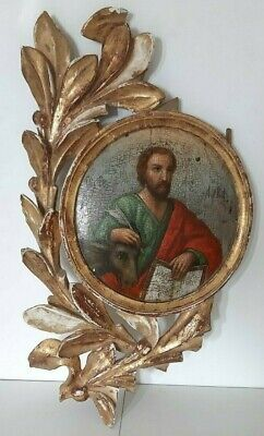 Antique Russian Icon Apostle Luke the Evangelist 19th century.