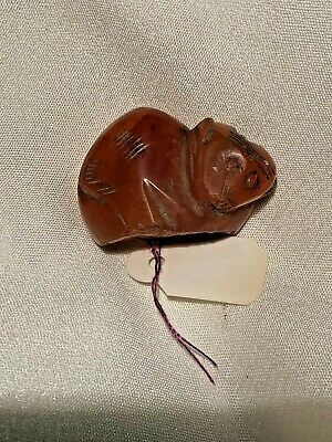 """ANTIQUE CHINESE Asian PENDANT Charm CORAL Carved Sleeping Monkey 1"""""""