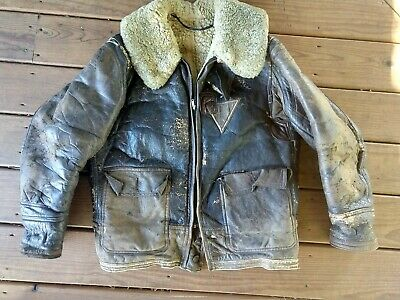 Original WWII US Army Air Force Corp Leather Bomber Jacket size Medium