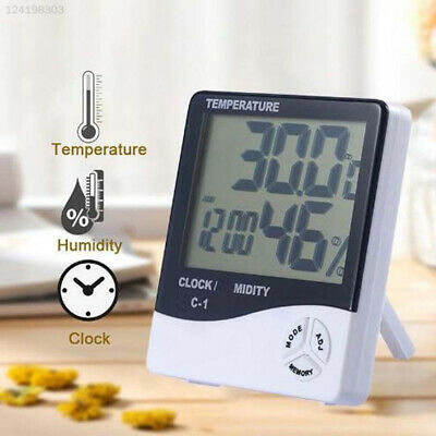 06C6 Plastic Weather Station Clock LCD Electronic Indoor Room Portable
