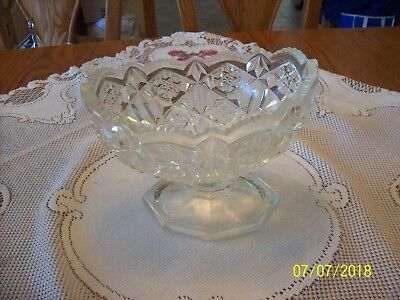 ABP Vintage Glass Ornate Sawtooth Diamond Cut Pedestal Compote Signed Press Cut