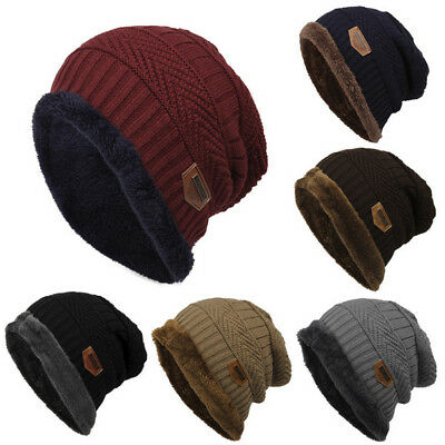 Unisex Mens Womens Crochet Knitted Wool Hat Beanie Winter Warm Fleece Ski Caps C