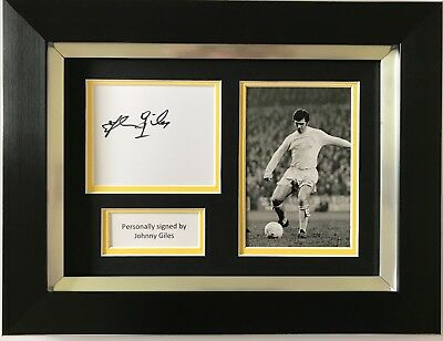 Johnny Giles Hand Signed Framed Photo Display Leeds United Autograph.