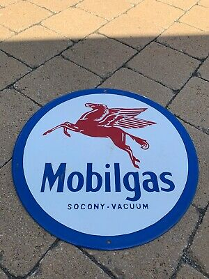 Vintage MOBILGAS GASOLINE PORCELAIN ENAMEL GAS PUMP OIL SERVICE STATION SIGN