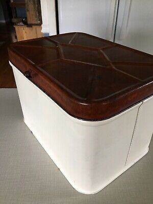 Vtg Cheinco Metal Tin Bread Box Farmhouse White and Red Custom Patina Rust Lid