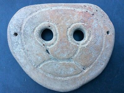 4th - 3rd Century BC Ceramic Inscribed Face Mask Wall Art Primitive Antiquity