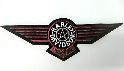 Large HARLEY DAVIDSON Logo Emblem Patch Jacket Vest Red Black White Star Wings