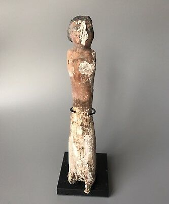 Ancient Egyptian Large Carved Wooden Figurine With Original Paint Pigment Remain