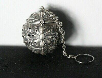 Antique 19thC Victorian Floral Repousse Sterling Silver Tea Ball