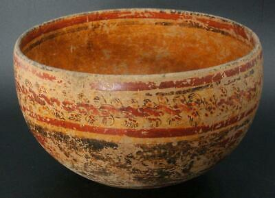 MV05 Antique Maya polychrome ritual utensil bowl AD600-900 # Pre Columbian