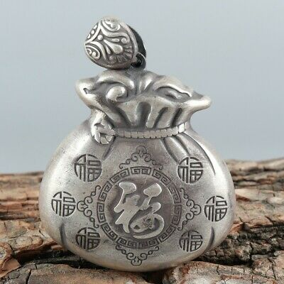 Chinese Exquisite Hand-carved Text Carving silver Pendant