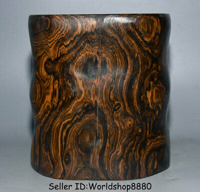 """7.6"""" Rare Old Chinese Huanghuali Wood Hand Carved Dynasty Brush Pot Pencil Vase"""