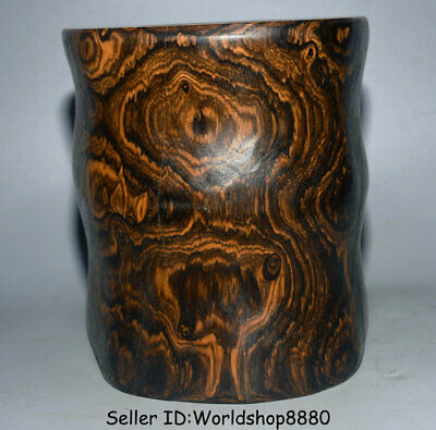 """8"""" Antique Old Chinese Huanghuali Yellow Pear Wood Dynasty Brush Pot Pencil Vase"""