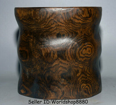 """7.4"""" Old Chinese Huanghuali Wood Carved Dynasty Palace Brush Pot Pencil Vase"""