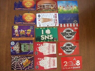 STEAK 'n SHAKE Collectible Gift Cards - LOT of 15 - Used NO VALUE Halloween etc.