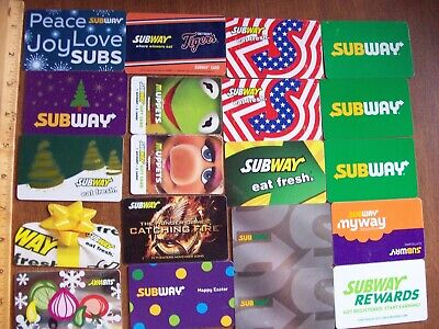 Subway Collectible Gift Cards - LOT of 20 - Used NO VALUE Muppets Tigers etc.