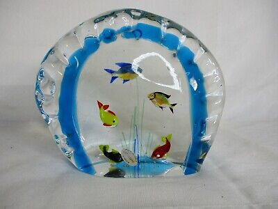 Murano Glass fish tank - Beautiful 5 fish Vtg Sculpture Aquarium Paperweight
