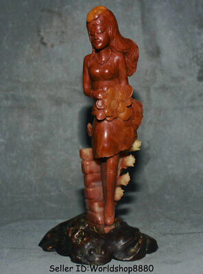 "8.4"" Old China Natural Red Shoushan Stone Carved Beauty Belle Girl Flower Statue"