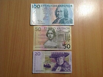 Collection of Swedish Kronors. 20 : 50 : 100 kronor. Total-3 pcs.