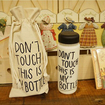 Beige Canvas Don't Touch This is My Bottle HoldersBottle CoversPortable BAG Chic