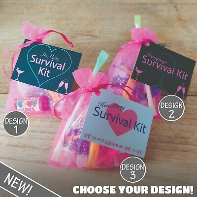 HEN PARTY SURVIVAL KIT Bride Bridesmaid Gift Keepsake Favour-10 Items!
