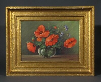 Vintage French Oil Painting, Bouquet of Flowers Poppies Cornflowers, Signed 1954