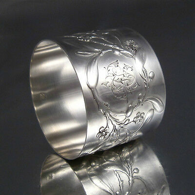 "Antique French Sterling Silver Napkin Ring, ""Mistletoe"", Albert Deflon, Monogram"