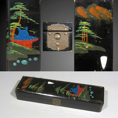 Antique French JapaneseLacquered Pen / Pencil Box / Case, Pagoda & Yew Trees