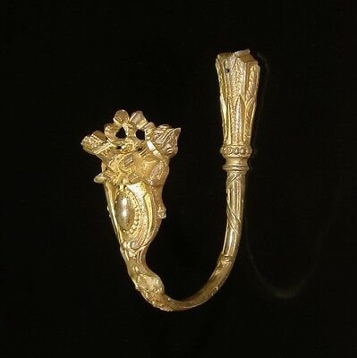 Antique French Gilded Bronze Ornament Hook Tieback, Neoclassic, Quiver, Stamped