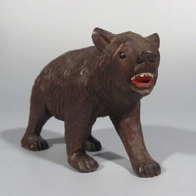 Authentic AntiqueSwiss Bear, Bear Cub, Black Forest Style, Hand CarvedWood