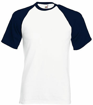 Tee-shirt base ball Fruit Of The Loom blanc/navy 100% coton - SC61026