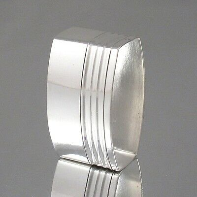 Vintage French Art Deco Silver Plate Napkin Ring, Oval Shape