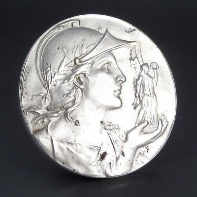 AntiqueFrenchSilver Plated Bronze Medal Bas-Relief Mars Winged Victory Signed